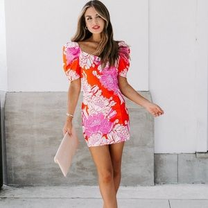VICI Buzzworthy Floral Puff Sleeve Mini Dress